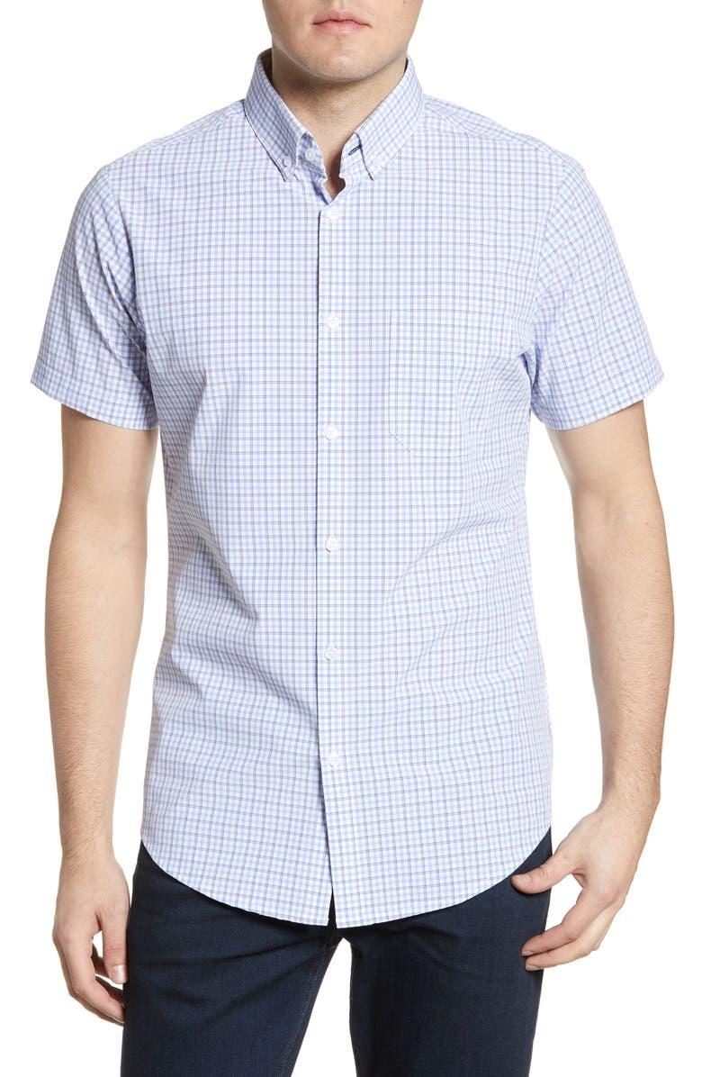 MIZZEN+MAIN Richmond Check Short Sleeve Button-Down Performance Shirt, Main, color, 493
