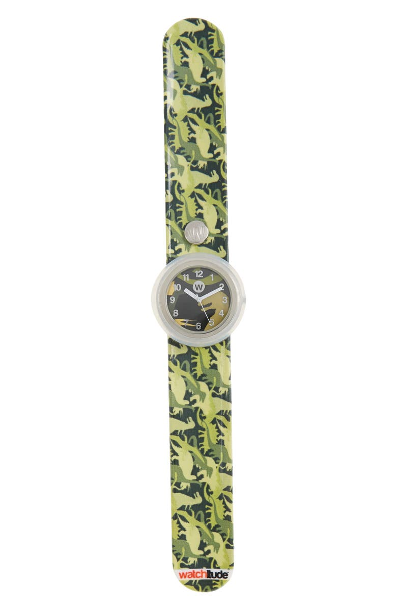 WATCHITUDE Dino Camo Slap Watch, Main, color, GREEN