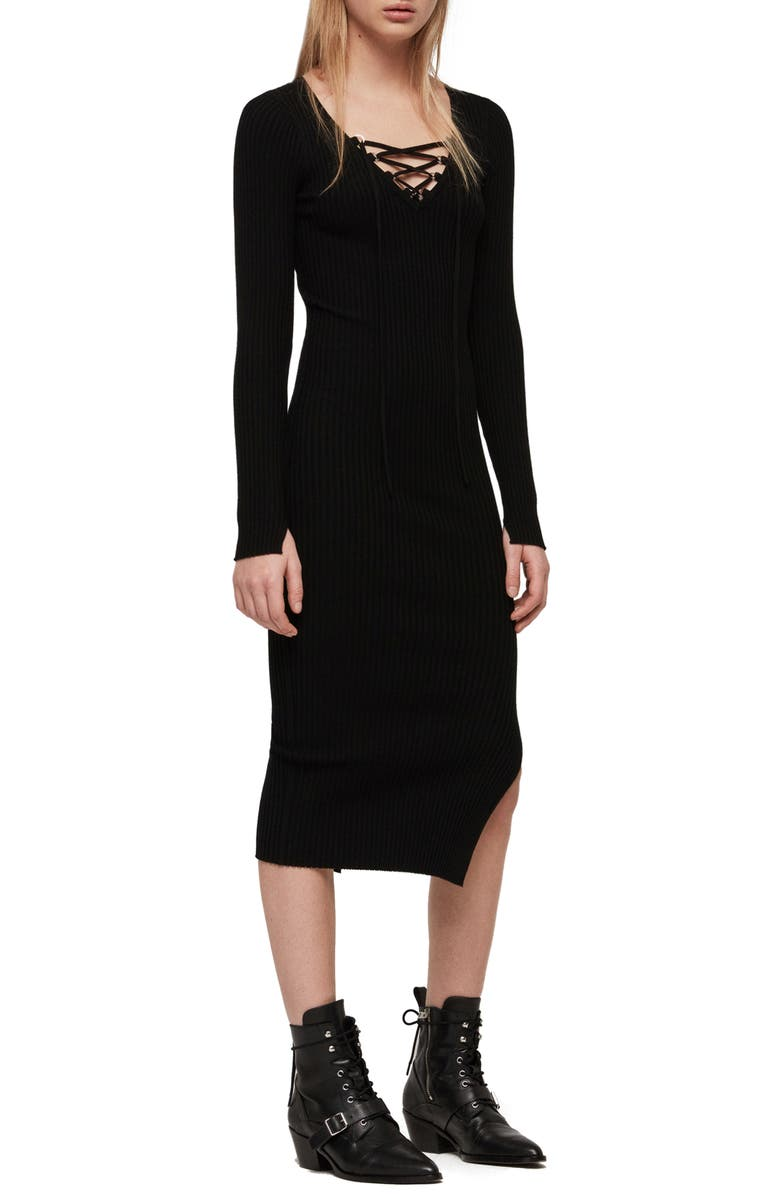 ALLSAINTS Tamsin Long Sleeve Sweater Dress, Main, color, 001