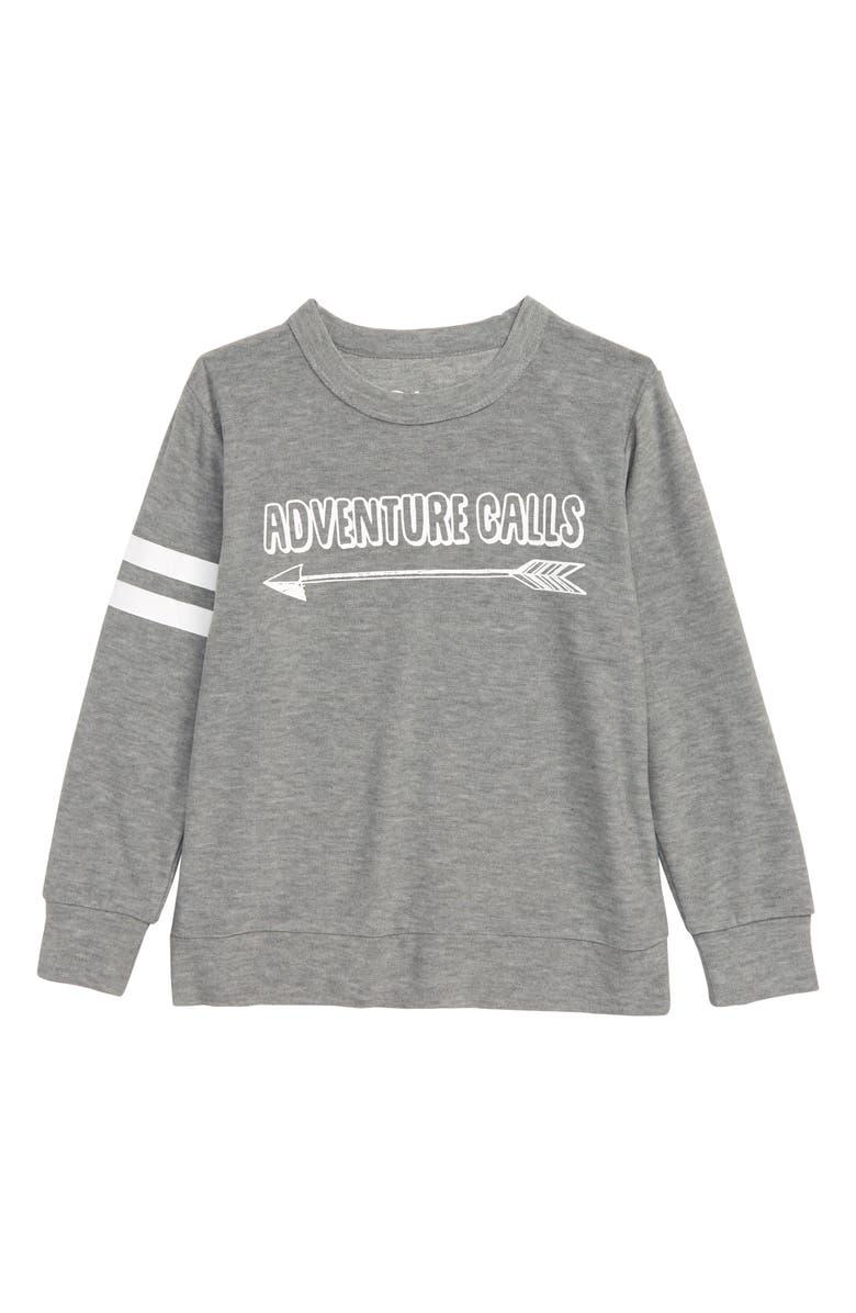 CHASER Adventure Calls Fleece Sweatshirt, Main, color, HEATHER GREY