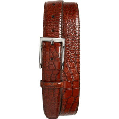 Torino Gator Grain Embossed Leather Belt, Cognac