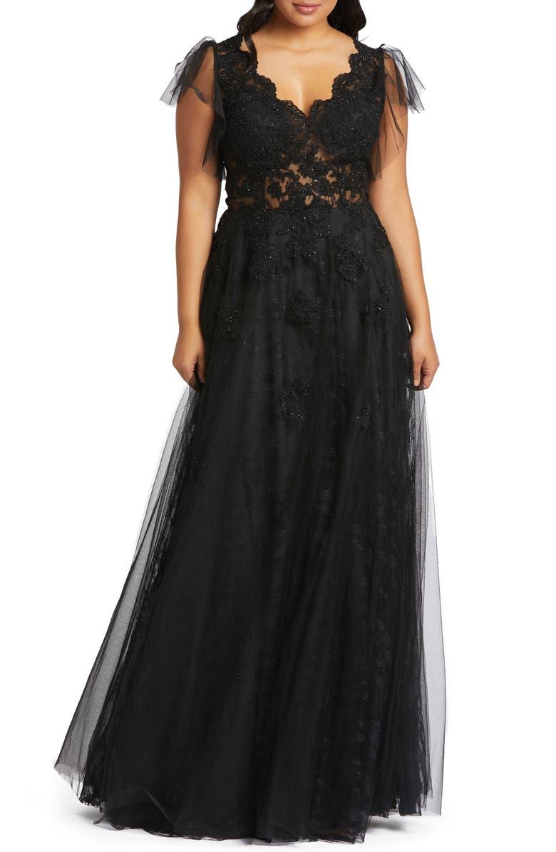 MAC DUGGAL Lace Illusion Prom Dress, Main, color, BLACK