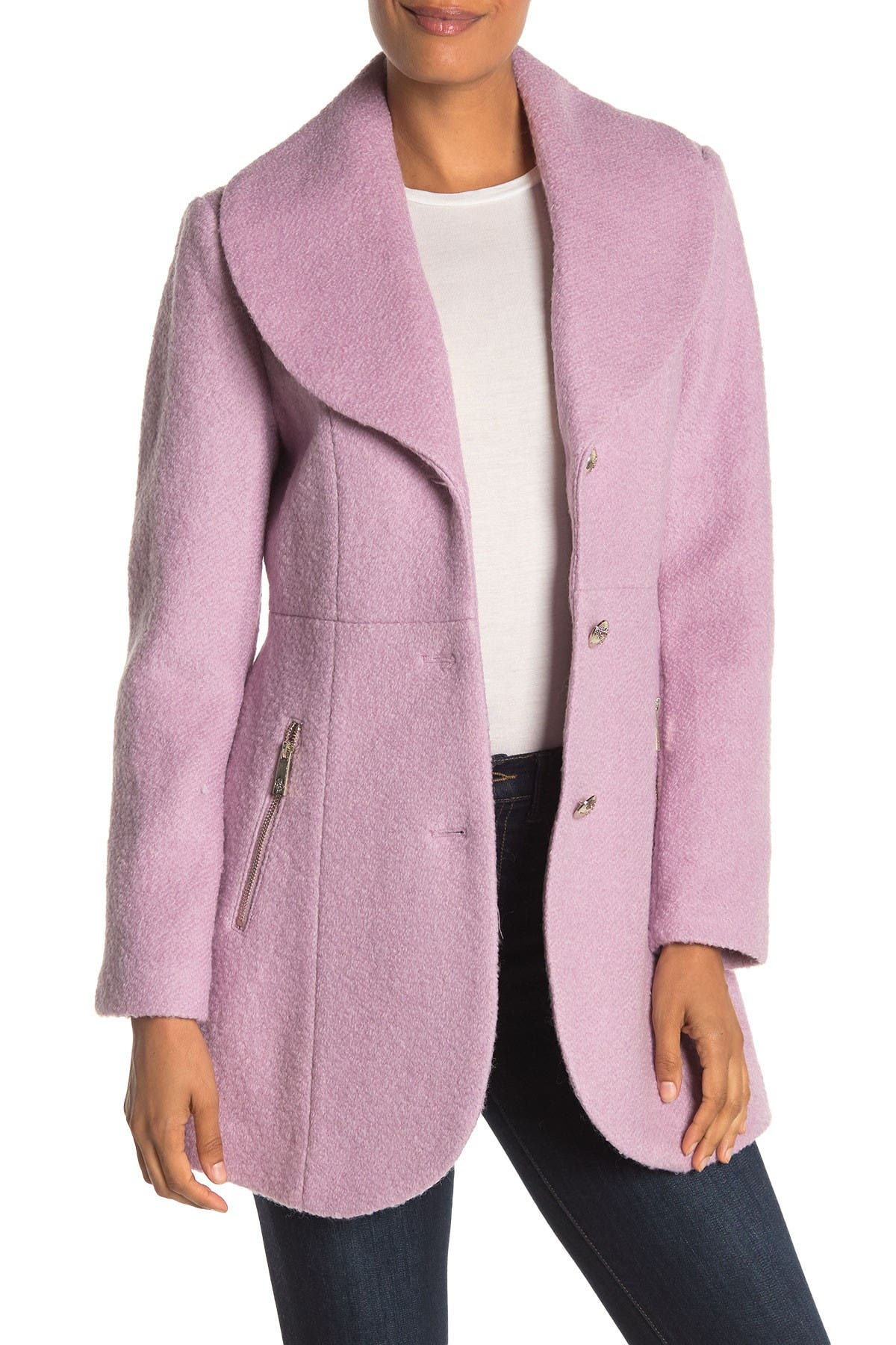Image of GUESS Shawl Collar Wool Blend Coat