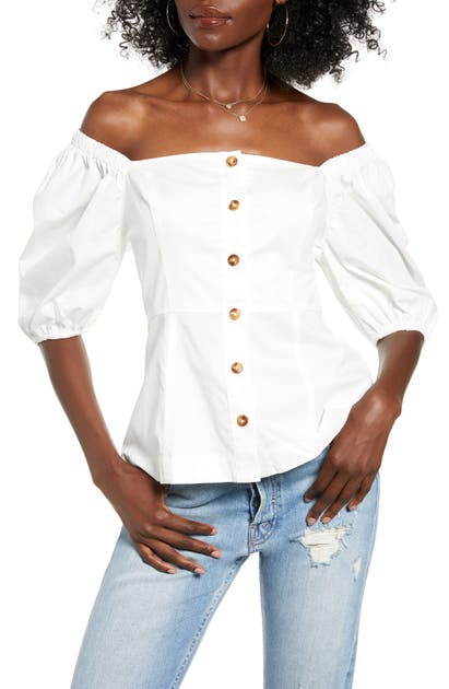 English Factory Off The Shoulder Cotton Top In White