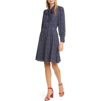 Rebecca Taylor Blurry Heart Print Long Sleeve Silk Dress, Blue