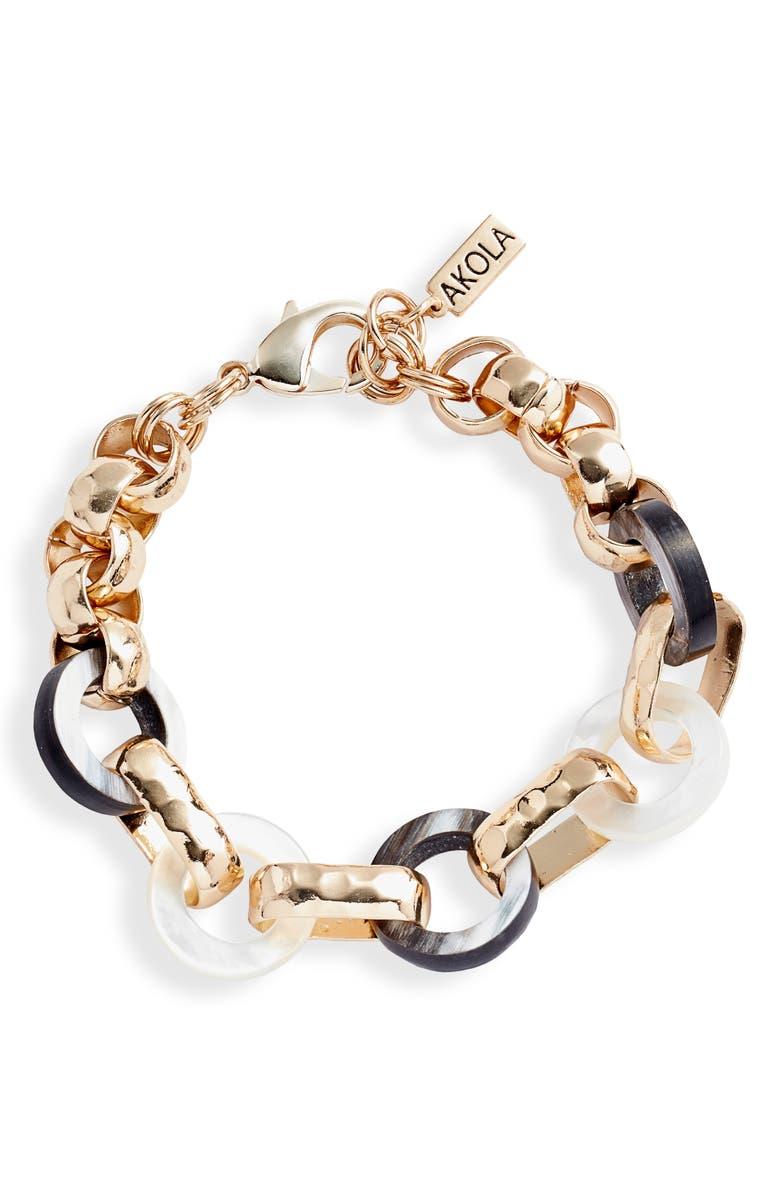 AKOLA Nina Link Bracelet, Main, color, BLACK/ WHITE