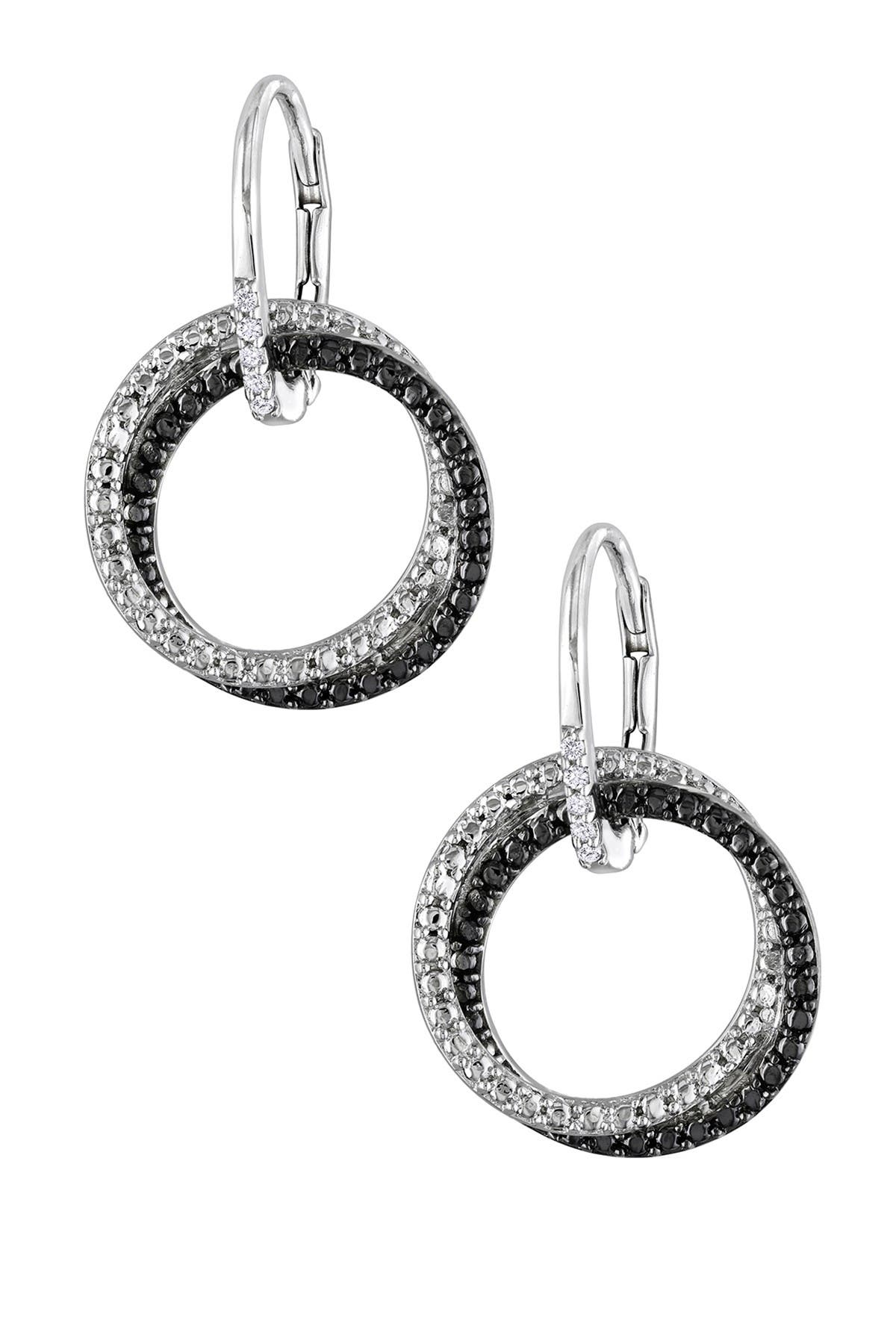 Image of Delmar Sterling Silver Two-Tone Diamond Circle Dangle Earrings - 0.05 ctw
