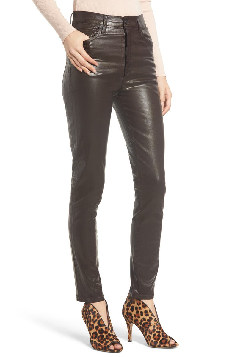 CITIZENS OF HUMANITY Olivia High Waist Slim Faux Leather Pants, Main, color, RAISIN LEATHERETTE