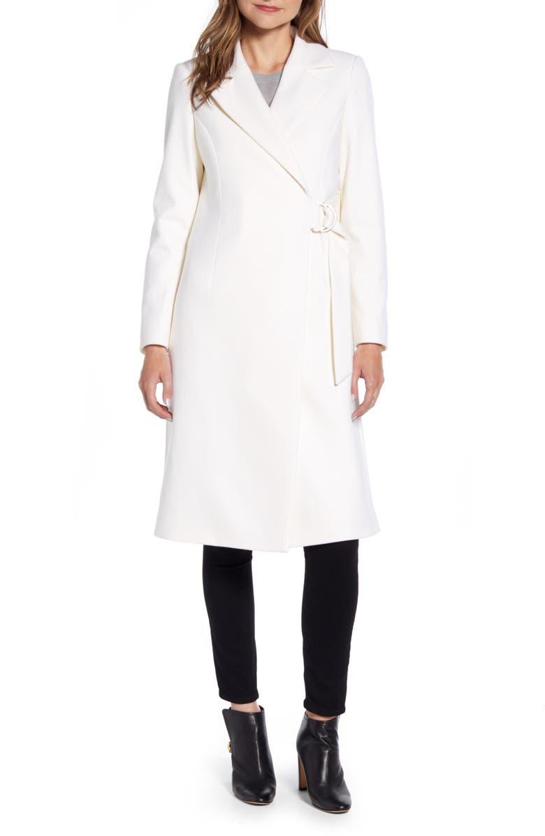 TED BAKER LONDON Dezpina Long D-Ring Wrap Coat, Main, color, IVORY