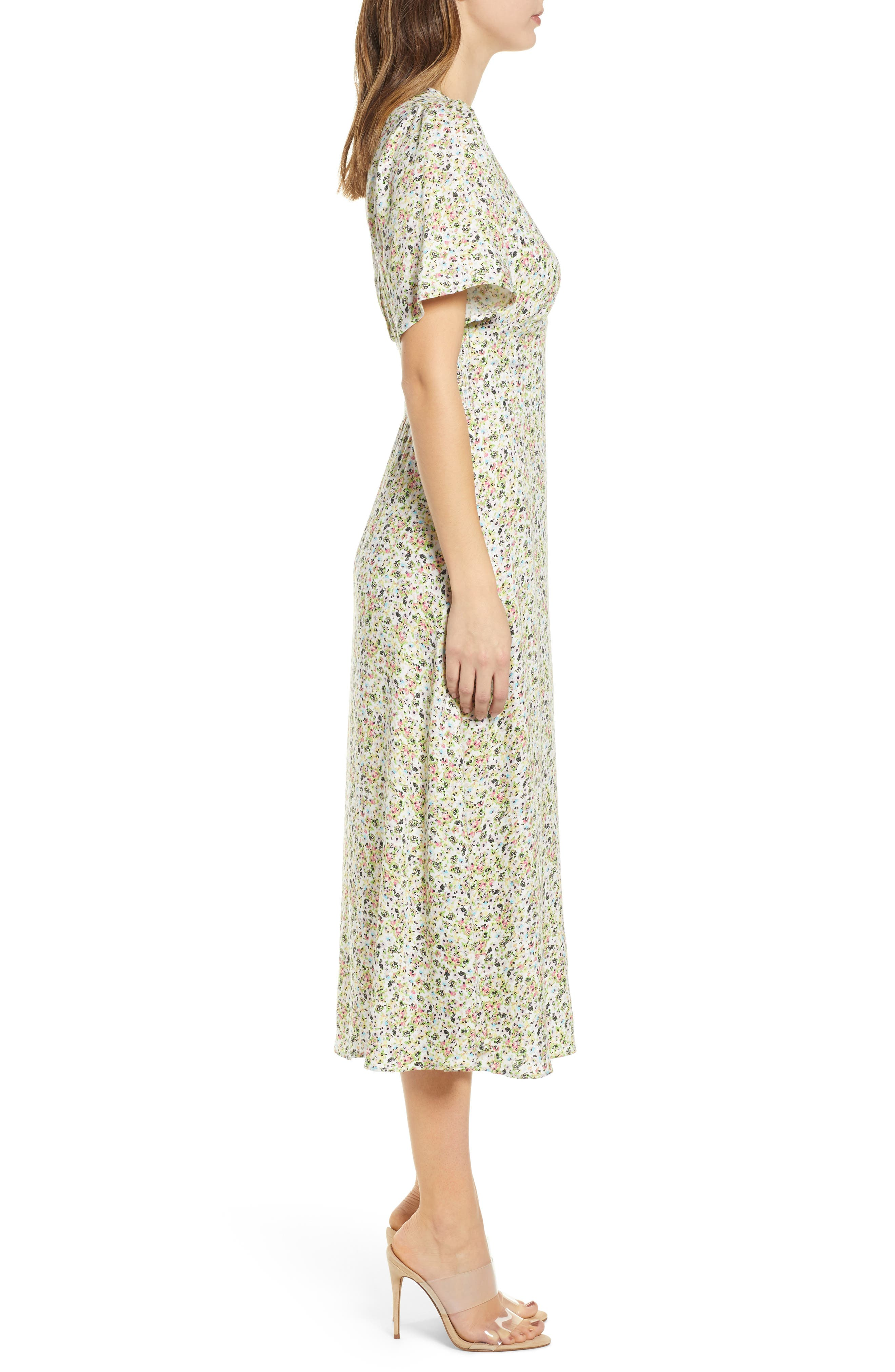 ,                             Janice Midi Dress,                             Alternate thumbnail 4, color,                             DITSY SPRING FLORAL