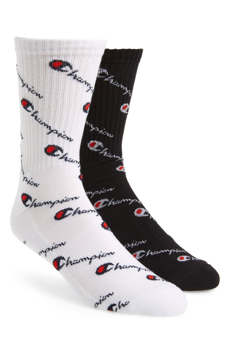 CHAMPION P2 All Over Script Socks, Main, color, WHITE/ BLACK