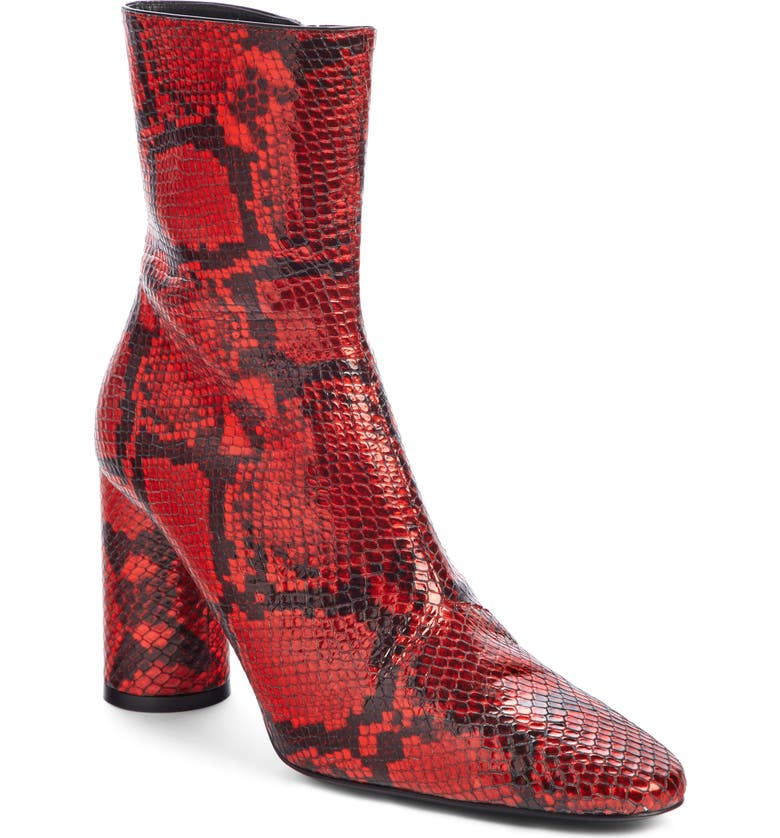 BALENCIAGA Oval Snake Embossed Bootie, Main, color, RED SNAKESKIN