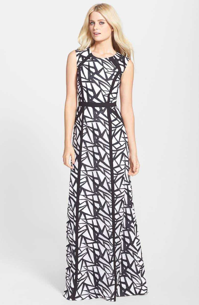 BCBGMAXAZRIA 'Daniela' Sleeveless A-Line Gown, Main, color, 019