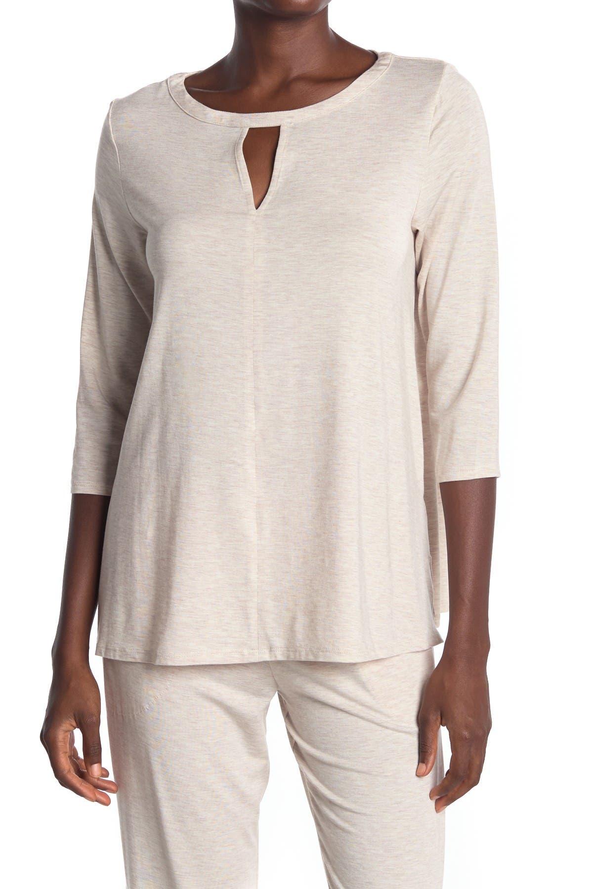 Image of Donna Karan Heathered Keyhole 3/4 Sleeve Pajama Top