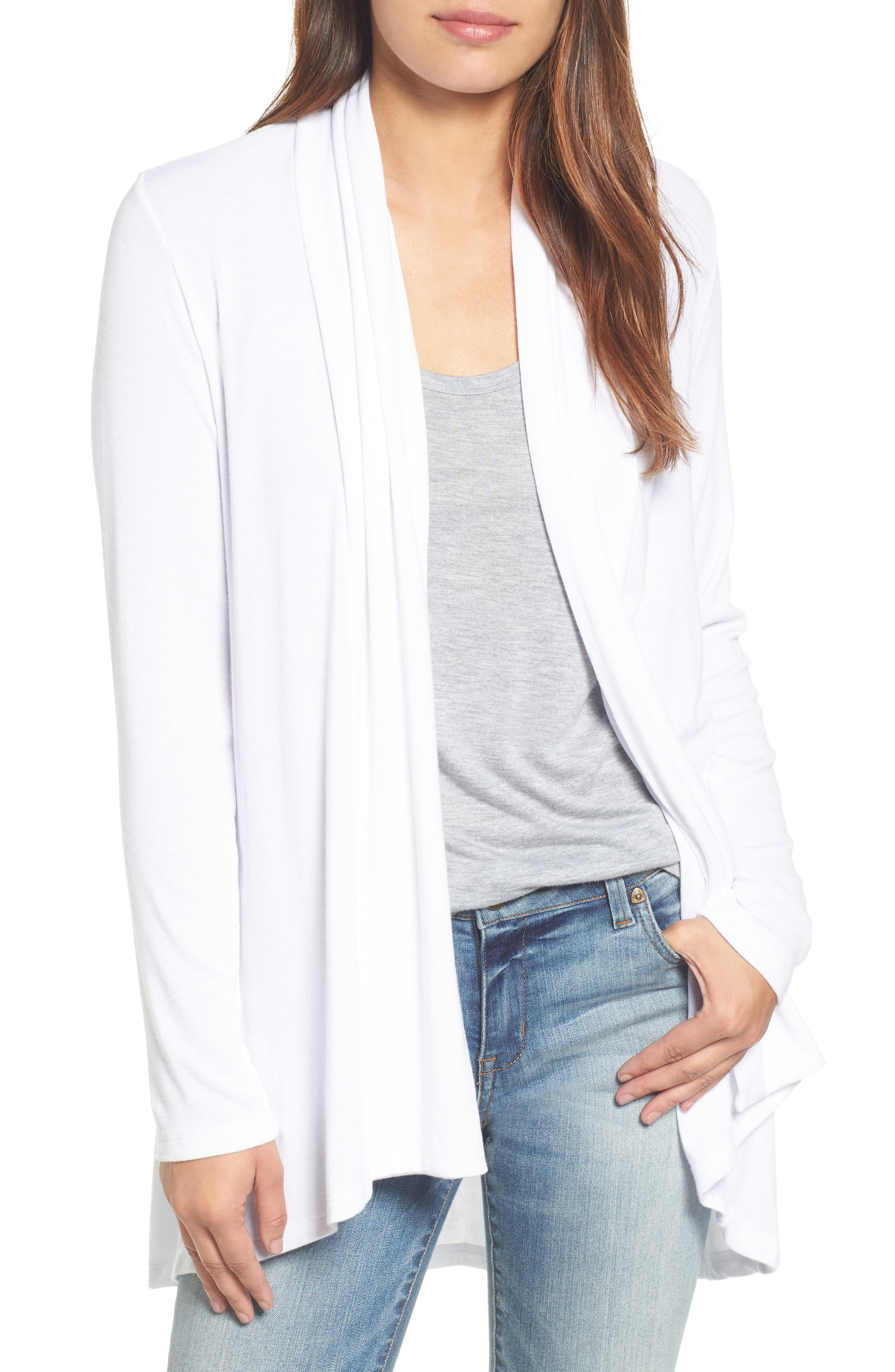A supersoft and flowy cardigan cut from fluid jersey with a shawl-collar front and high/low hem comes in a fresh array of colors. Style Name: Bobeau High/low Jersey Cardigan. Style Number: 1049533 4. Available in stores.
