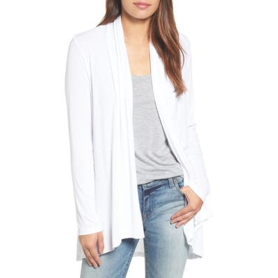 Bobeau High/low Jersey Cardigan, White