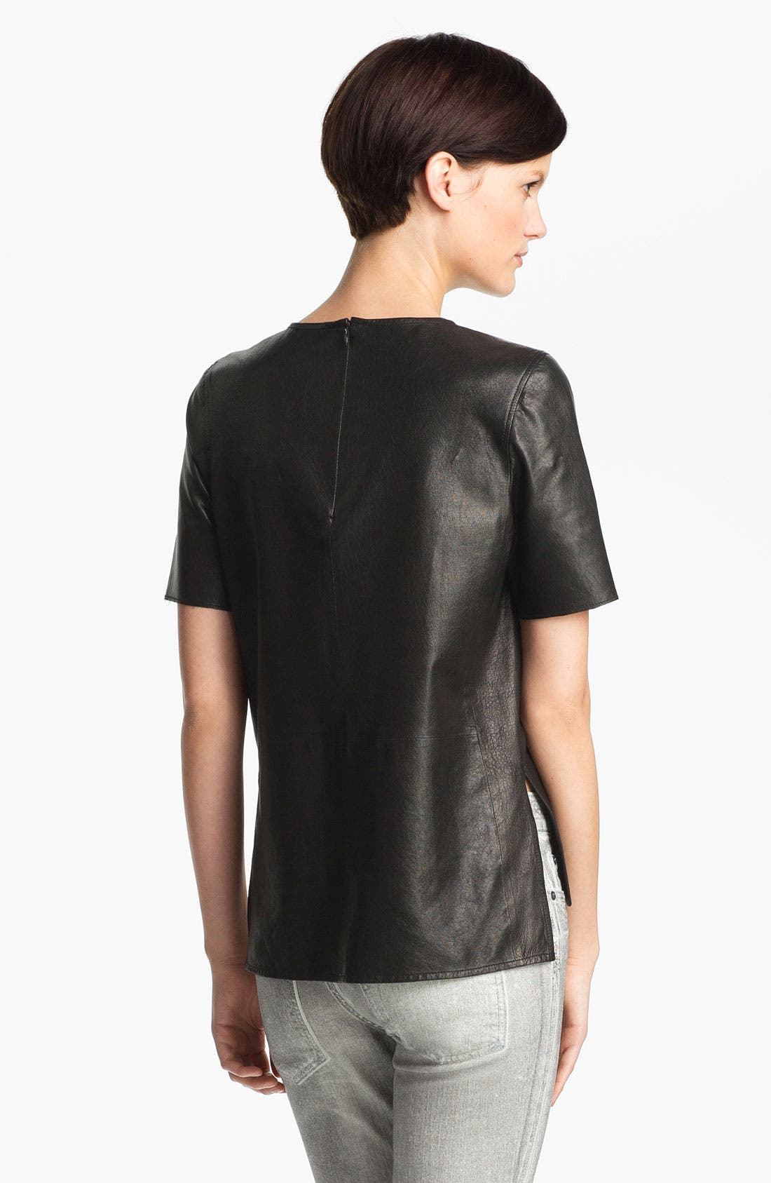,                             Leather Tee,                             Alternate thumbnail 2, color,                             001