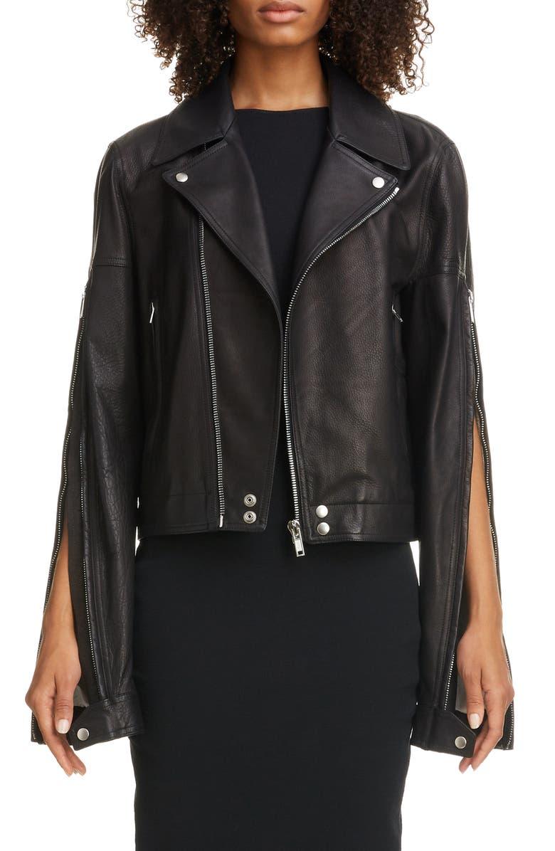 RICK OWENS Zip Sleeve Leather Moto Jacket, Main, color, 09 BLACK