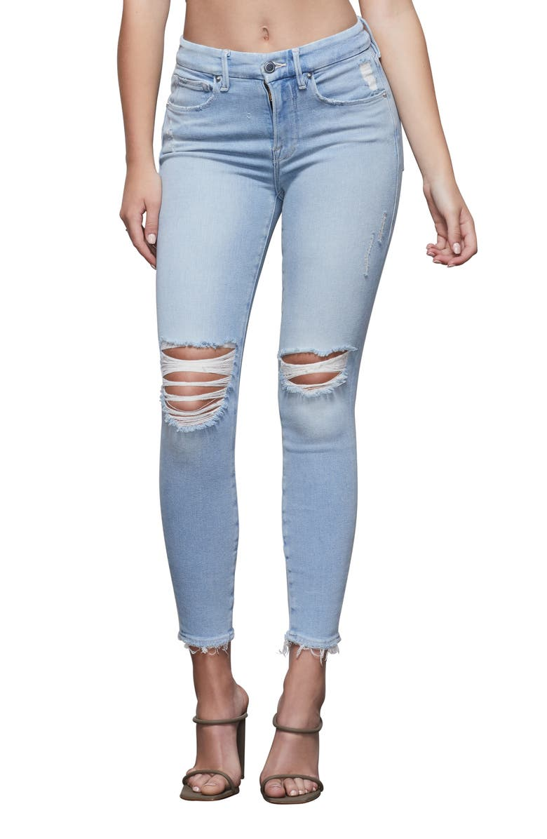 GOOD AMERICAN Good Legs High Waist Ripped Ankle Skinny Jeans, Main, color, BLUE379