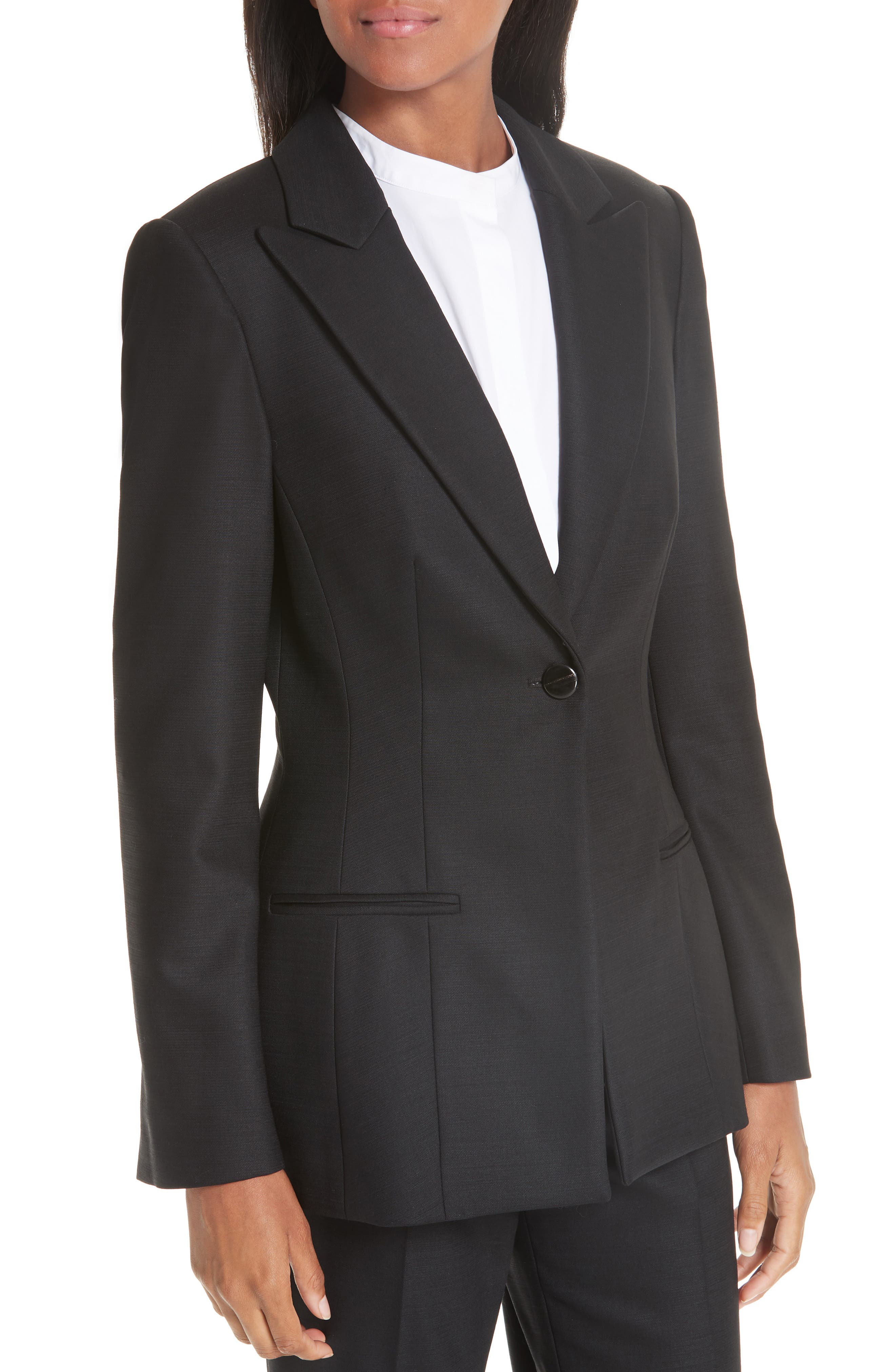 ,                             One-Button Stretch Wool Gabardine Jacket,                             Alternate thumbnail 5, color,                             BLACK