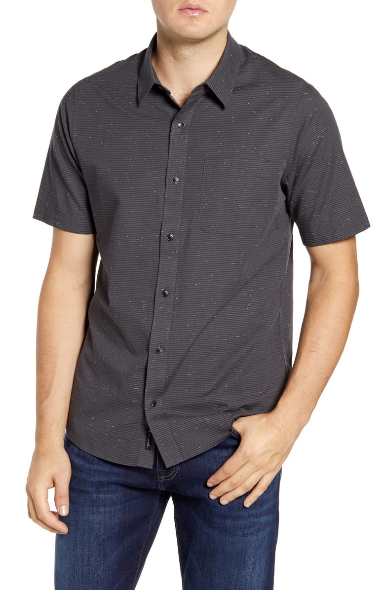 TRAVISMATHEW Got the Power Trim Fit Stripe Short Sleeve Button-Up Sport Shirt, Main, color, BLACK