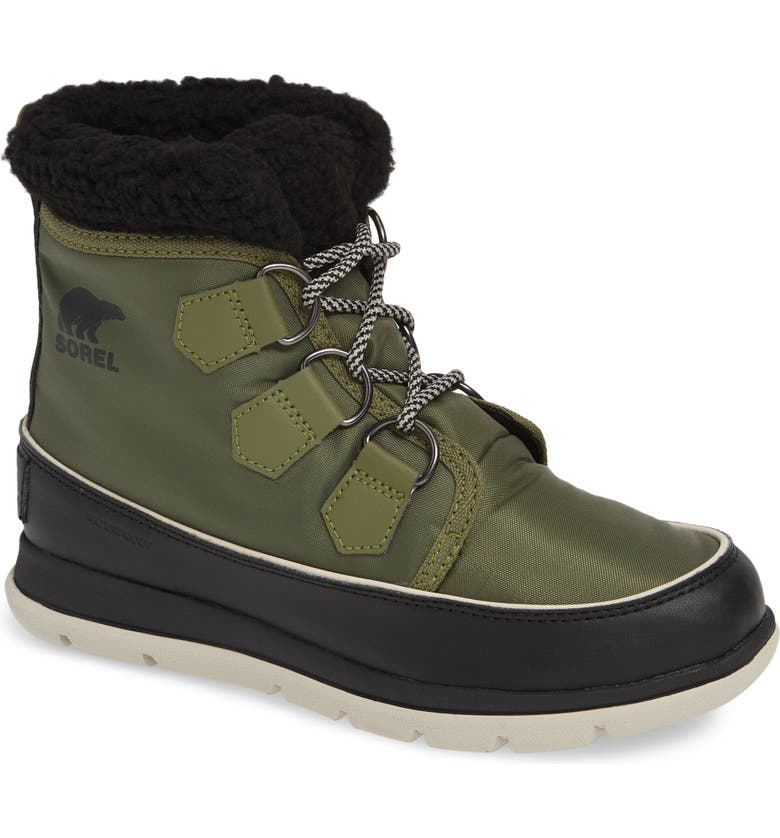 SOREL Explorer Carnival Waterproof Boot with Faux Fur Collar, Main, color, HIKER GREEN