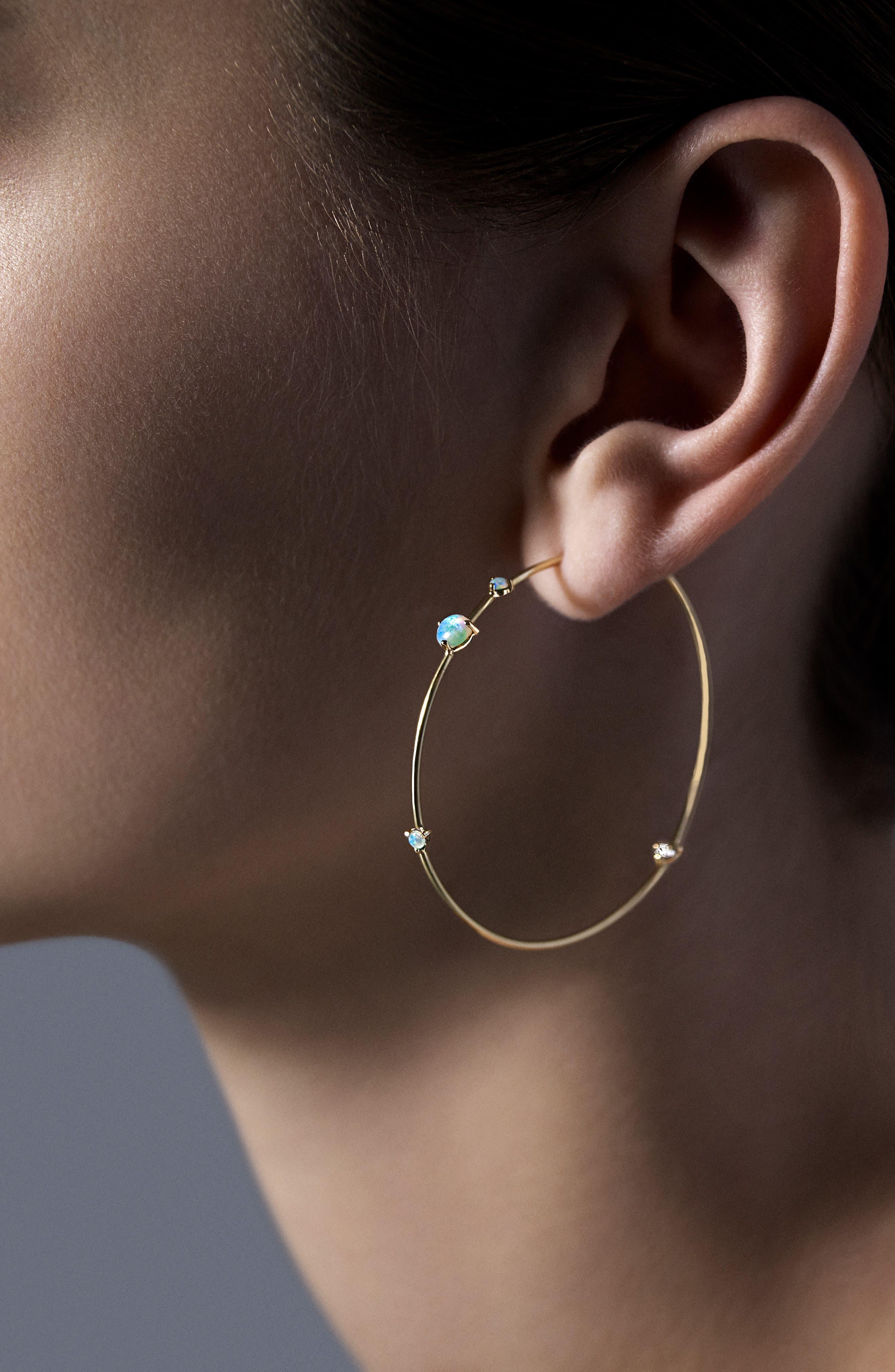 ,                             Four-Step Opal & Diamond Hoop Earrings,                             Alternate thumbnail 2, color,                             OPAL AND WHITE DIAMOND