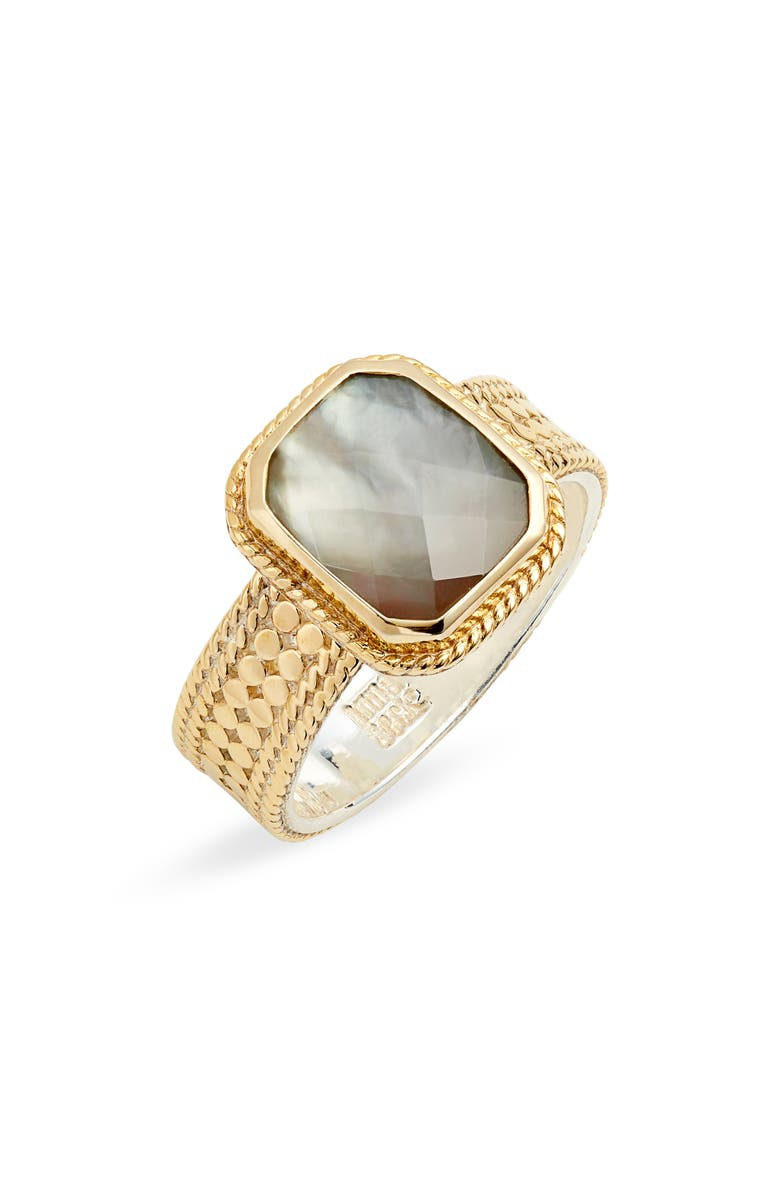 ANNA BECK Cushion Stone Ring, Main, color, GOLD/ GREY QUARTZ