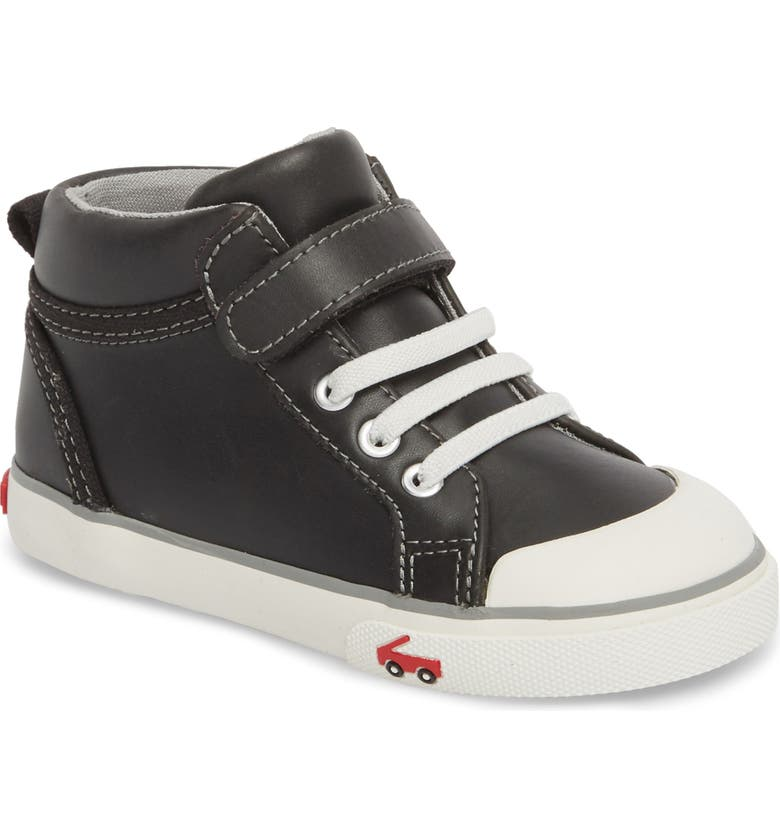 SEE KAI RUN Peyton High Top Sneaker, Main, color, BLACK LEATHER