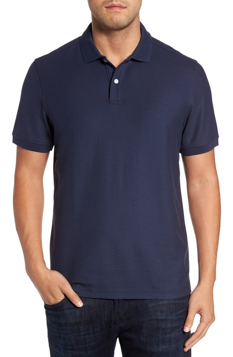 NORDSTROM MEN'S SHOP Regular Fit Piqué Polo, Main, color, NAVY IRIS