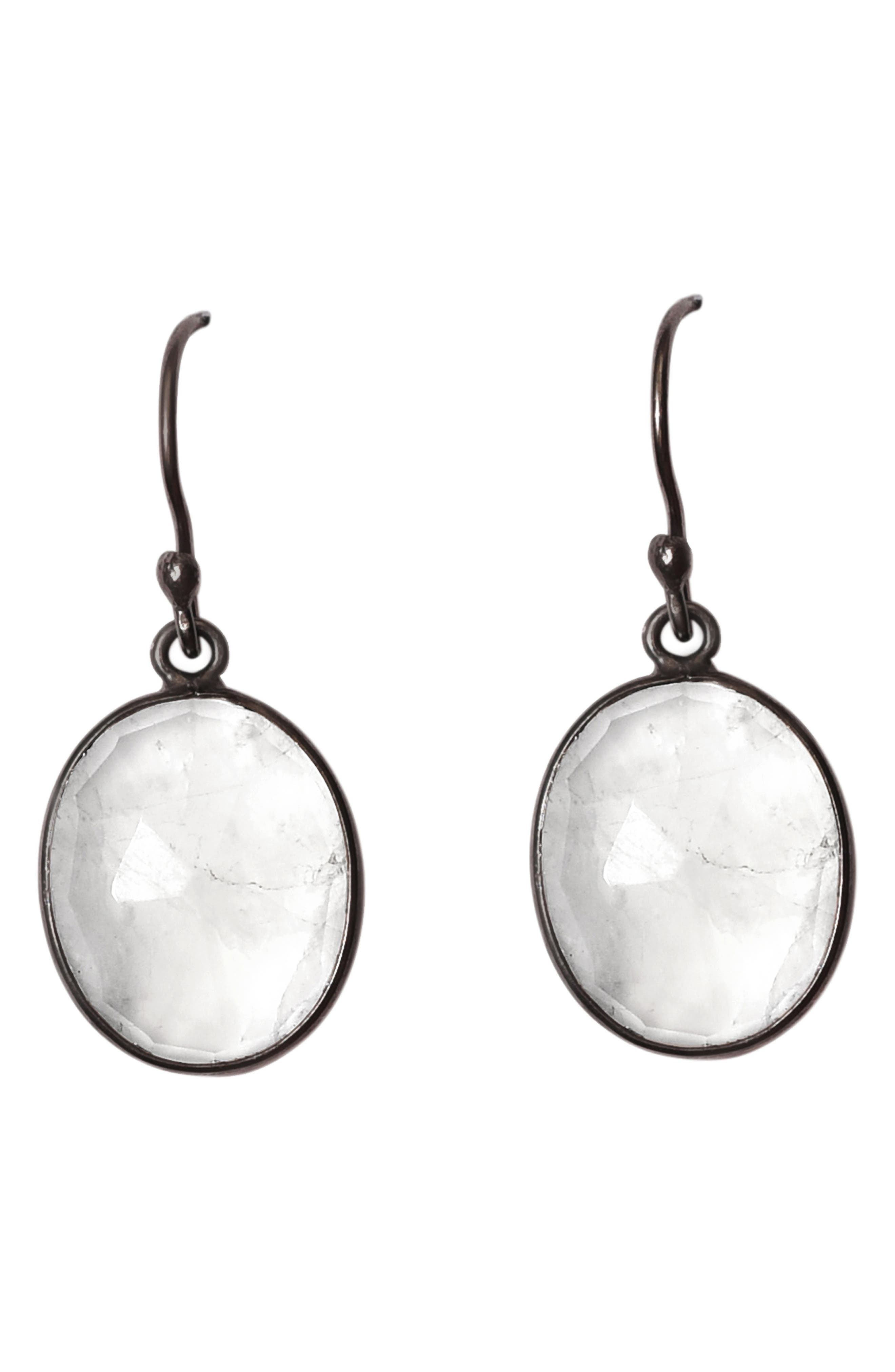 Adornia BLACK RHODIUM PLATED STERLING SILVER OVAL MOONSTONE DROP EARRINGS
