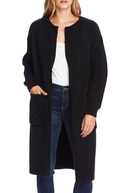 Vince Camuto Knits CABLE KNIT DETAIL LONG CARDIGAN
