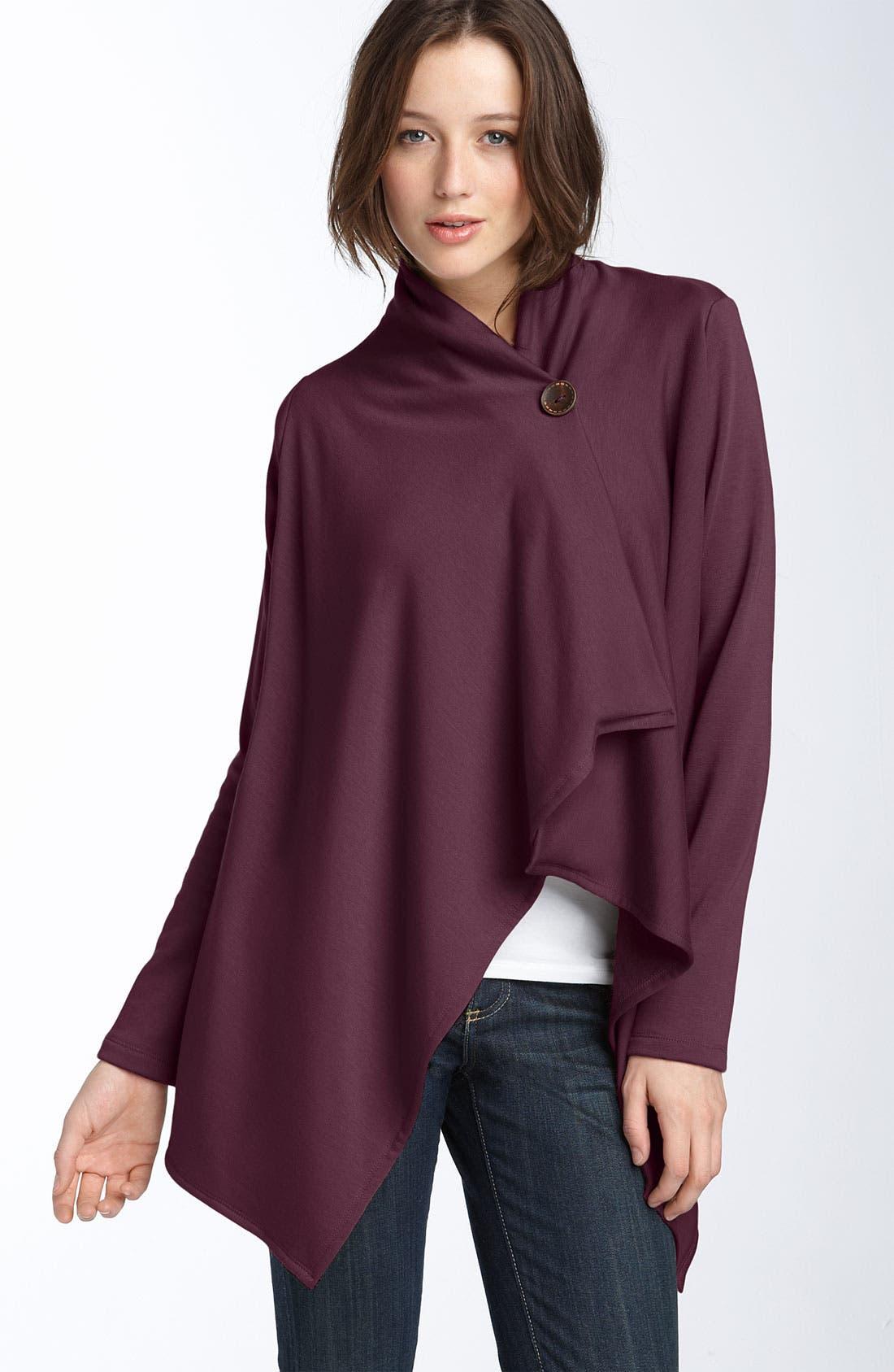 ,                             One-Button Fleece Wrap Cardigan,                             Main thumbnail 185, color,                             618