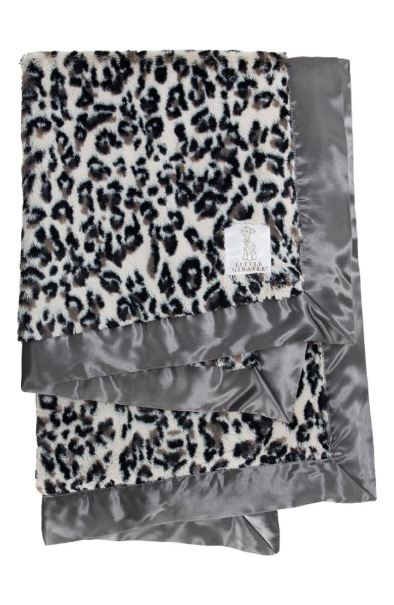 LITTLE GIRAFFE Luxe Leopard Faux Fur Blanket, Main, color, CHARCOAL