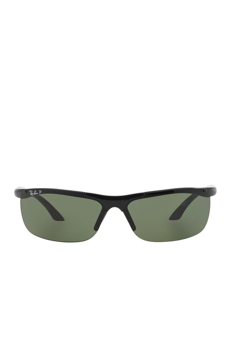 RAY-BAN 68mm Rectangular Sunglasses, Main, color, BLACK