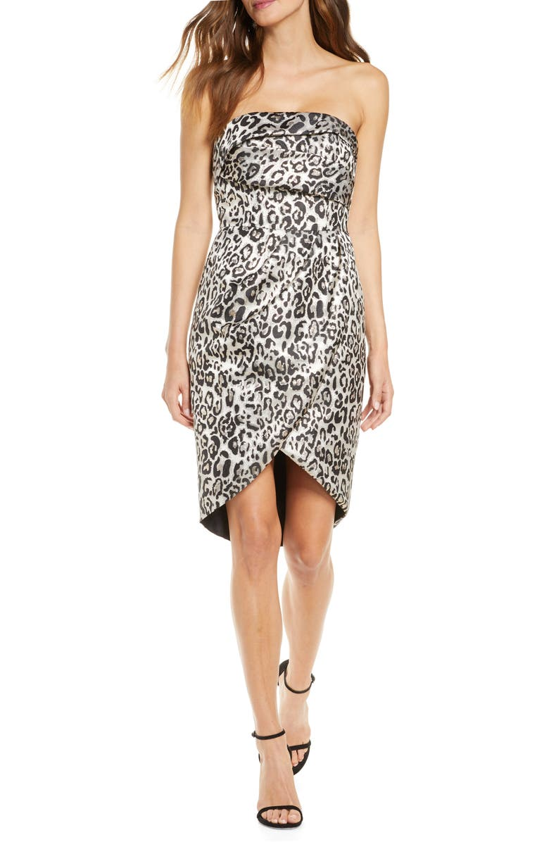 BLACK HALO Tamara Metallic Leopard Strapless Cocktail Dress, Main, color, 020