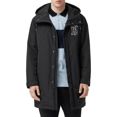 Burberry Aberdeen Monogram Technical Twill Rain Jacket, Black