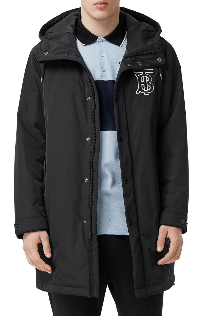 BURBERRY Aberdeen Monogram Technical Twill Rain Jacket, Main, color, BLACK