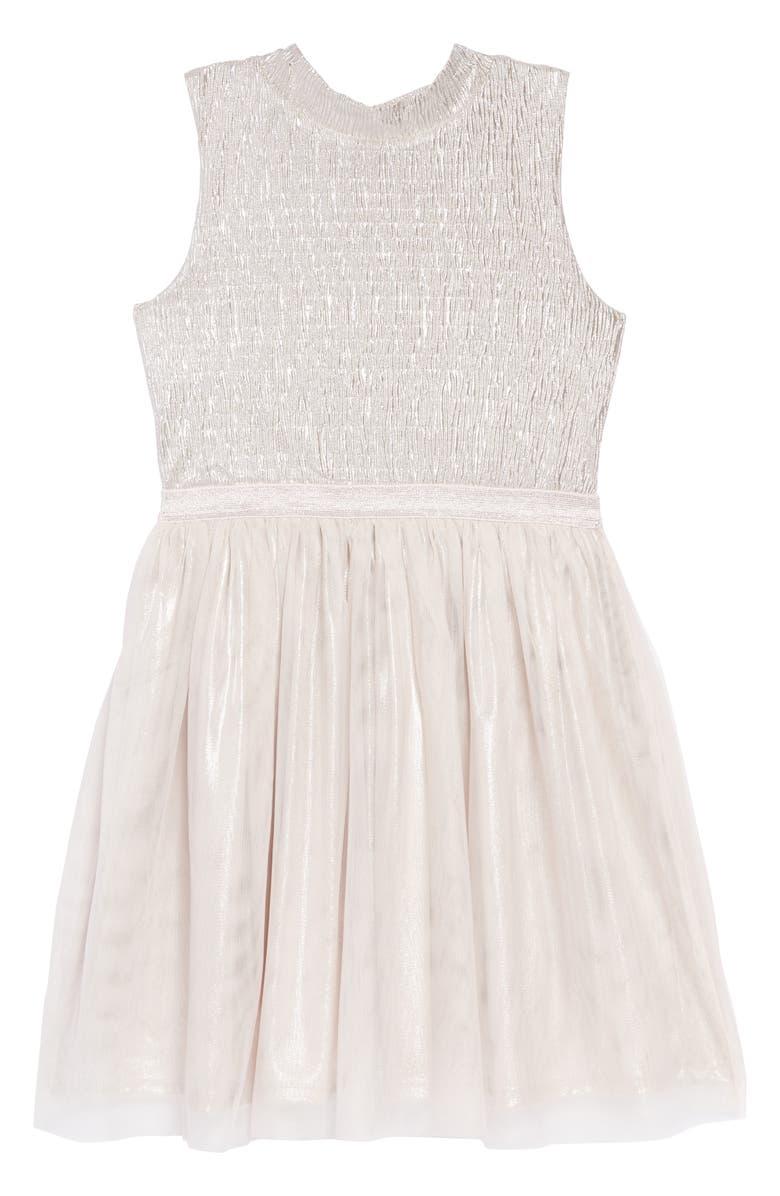 ZUNIE Mock Neck Shimmer Ruched Dress, Main, color, SILVER