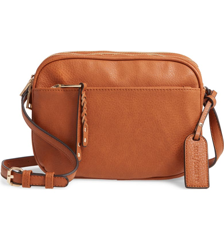 SOLE SOCIETY Faux Leather Crossbody Bag, Main, color, COGNAC