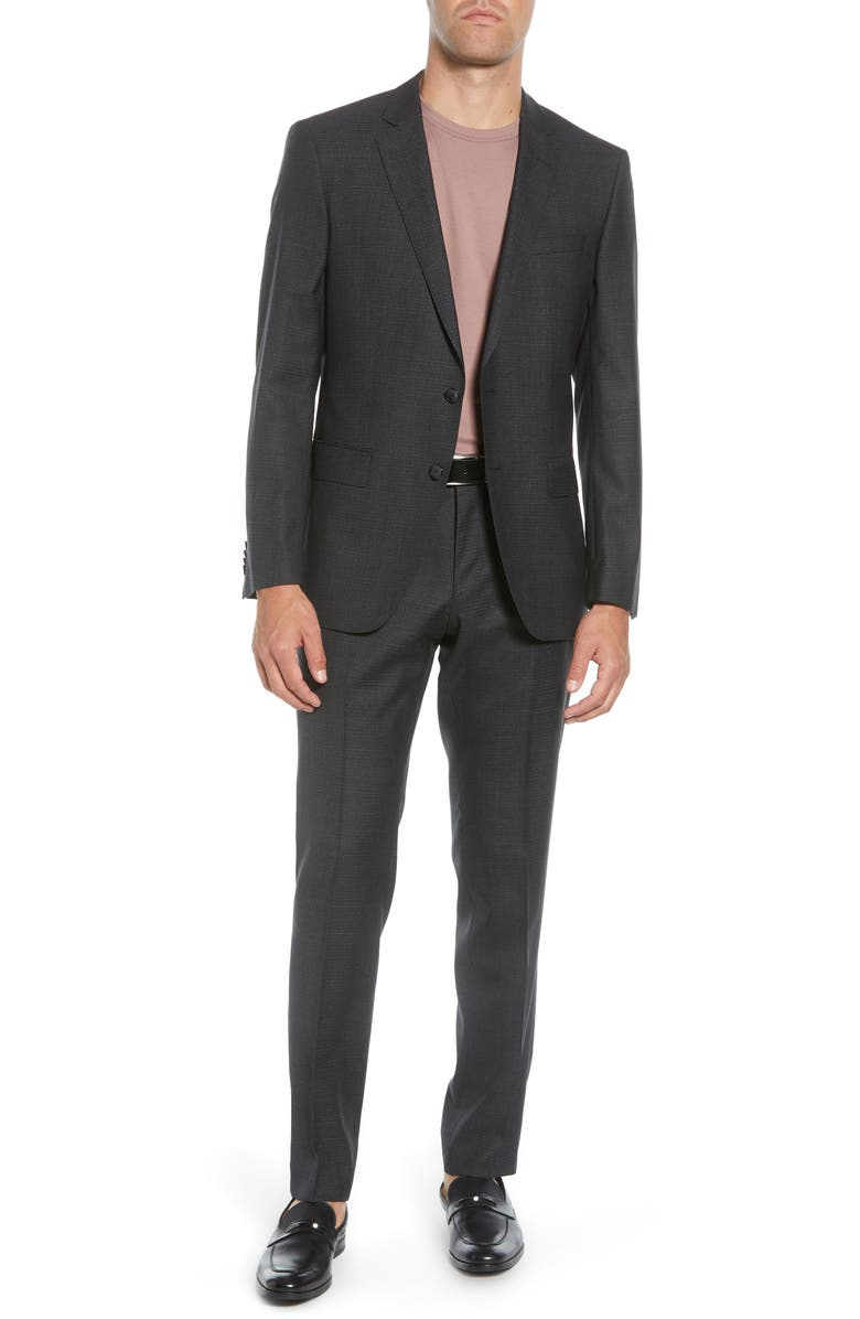 BOSS Huge/Genius Trim Fit Houndstooth Wool Suit, Main, color, BLACK