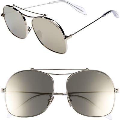 Alexander Mcqueen 5m Aviator Sunglasses - Silver