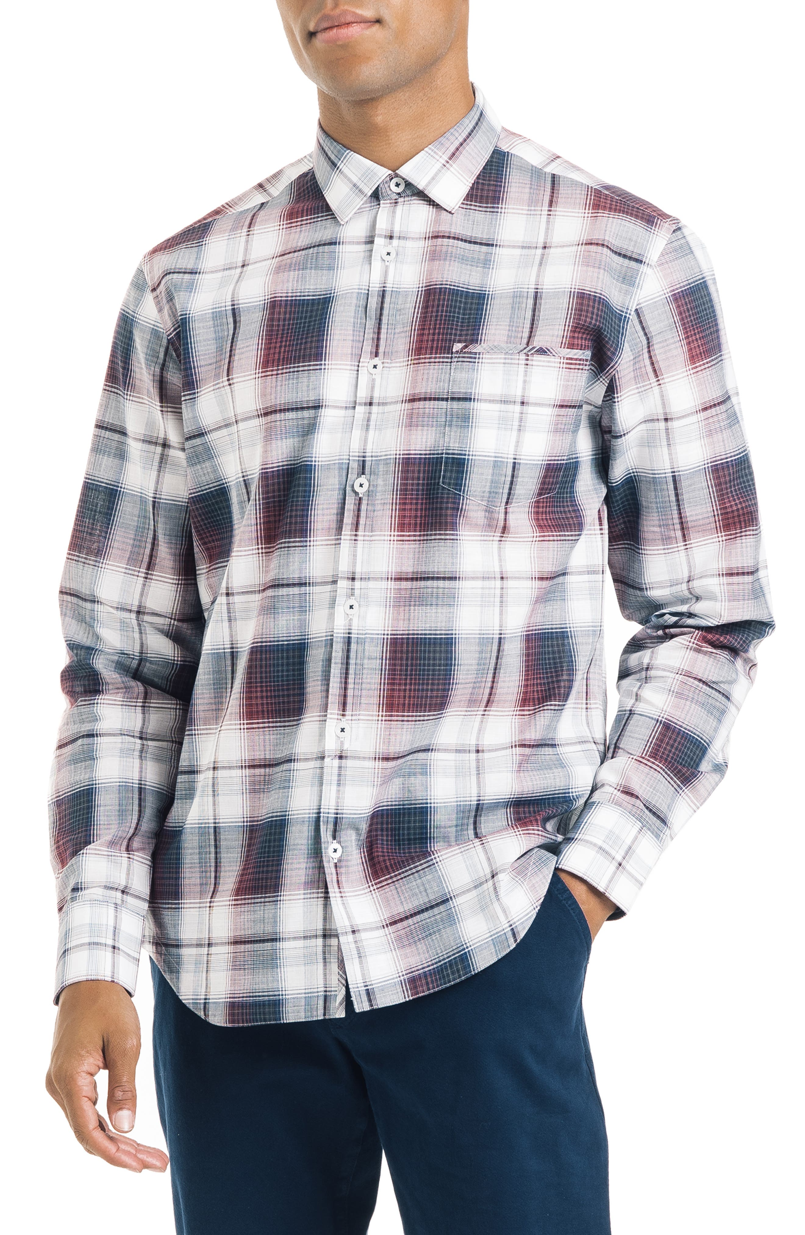 Slim Fit Plaid Sport Shirt, Main, color, WHITE