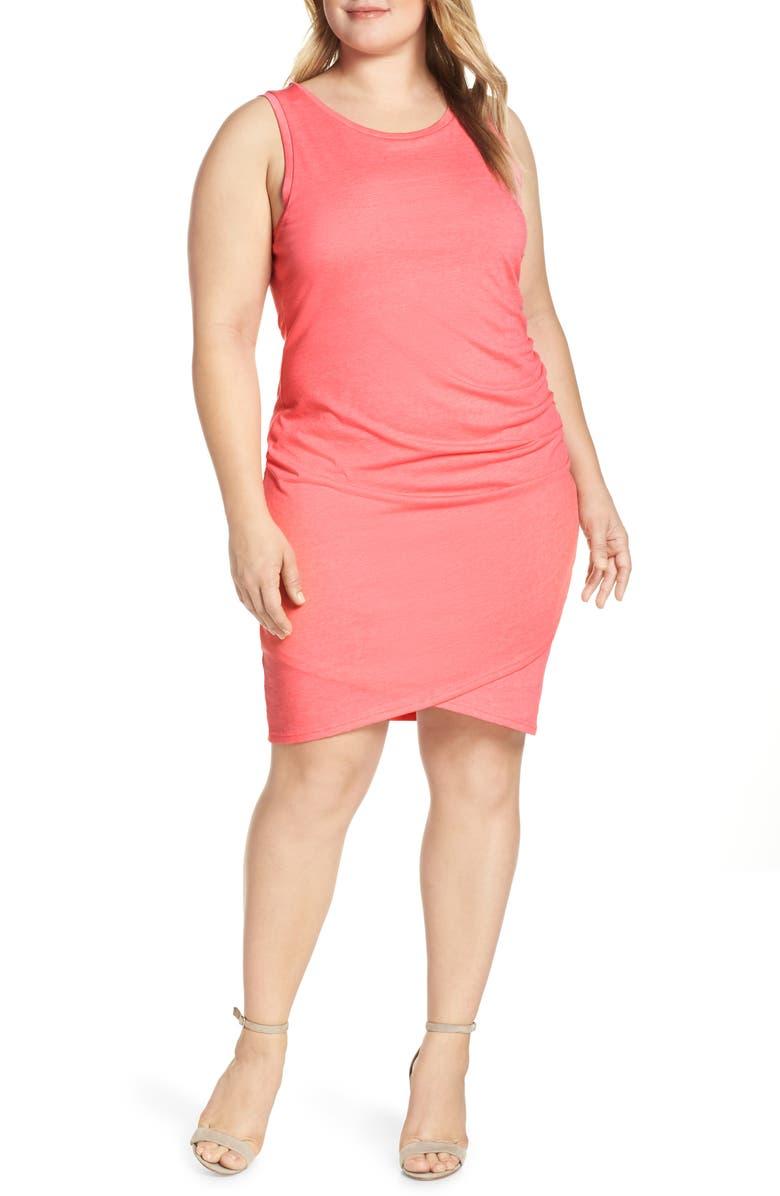 LEITH Ruched Sheath Dress, Main, color, PINK LEMONADE