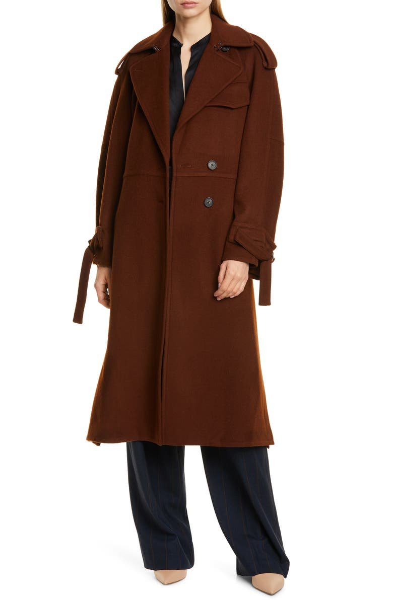 VINCE Belted Wool Blend Trench Coat, Main, color, MAHOGANY