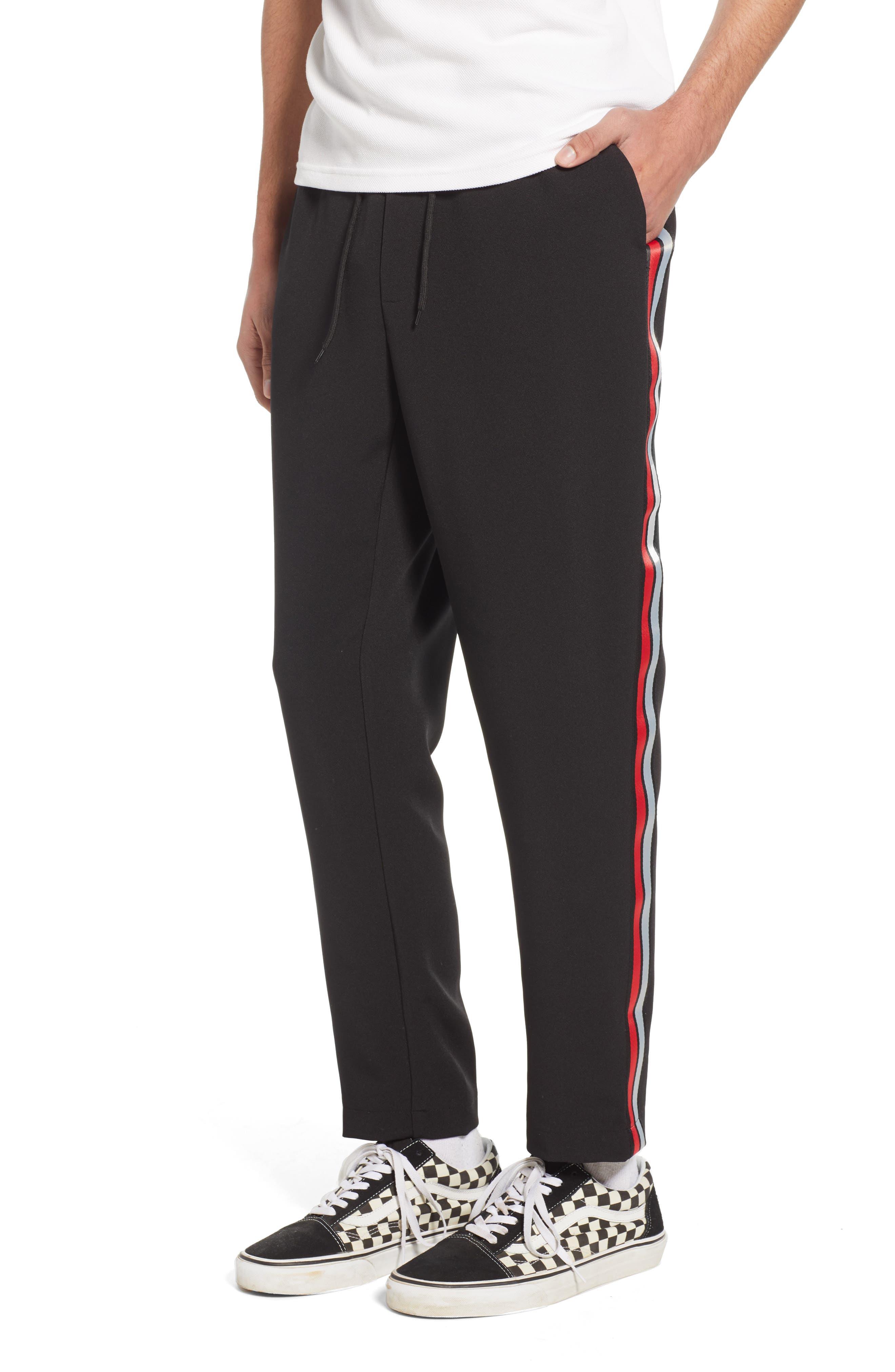 Classic Fit Side Stripe Cropped Jogger Pants, Main, color, BLACK
