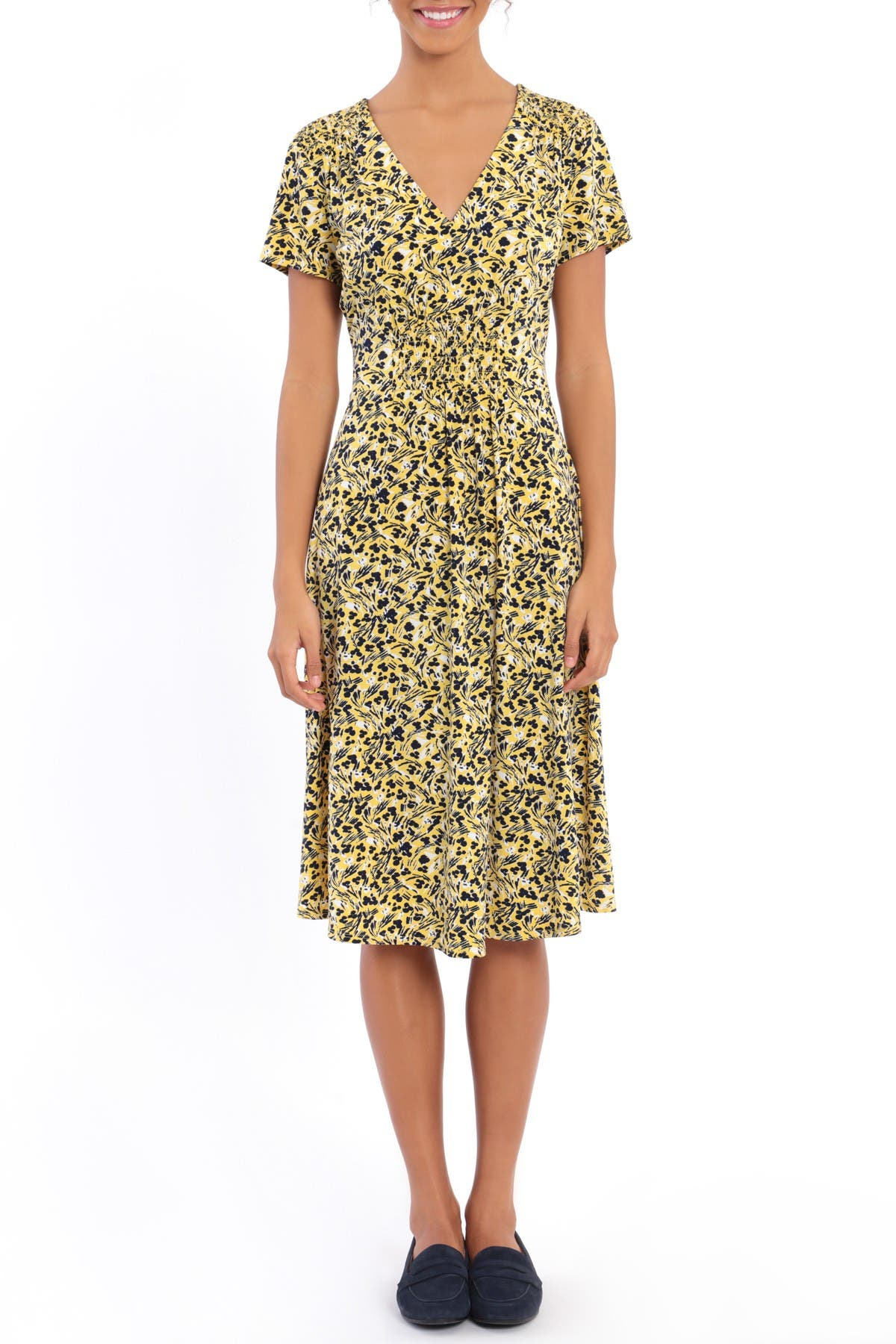 Image of London Times Floral Smocked Midi Dress