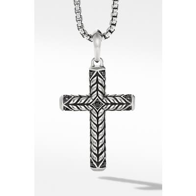 David Yurman Chevron Sculpted Cross With Pave Black Diamonds