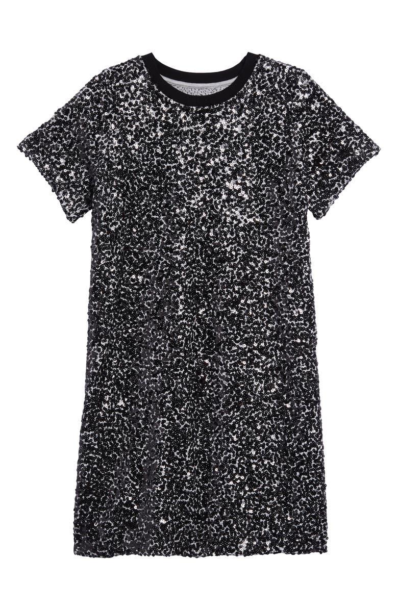 TREASURE & BOND Sequin T-Shirt Dress, Main, color, BLACK