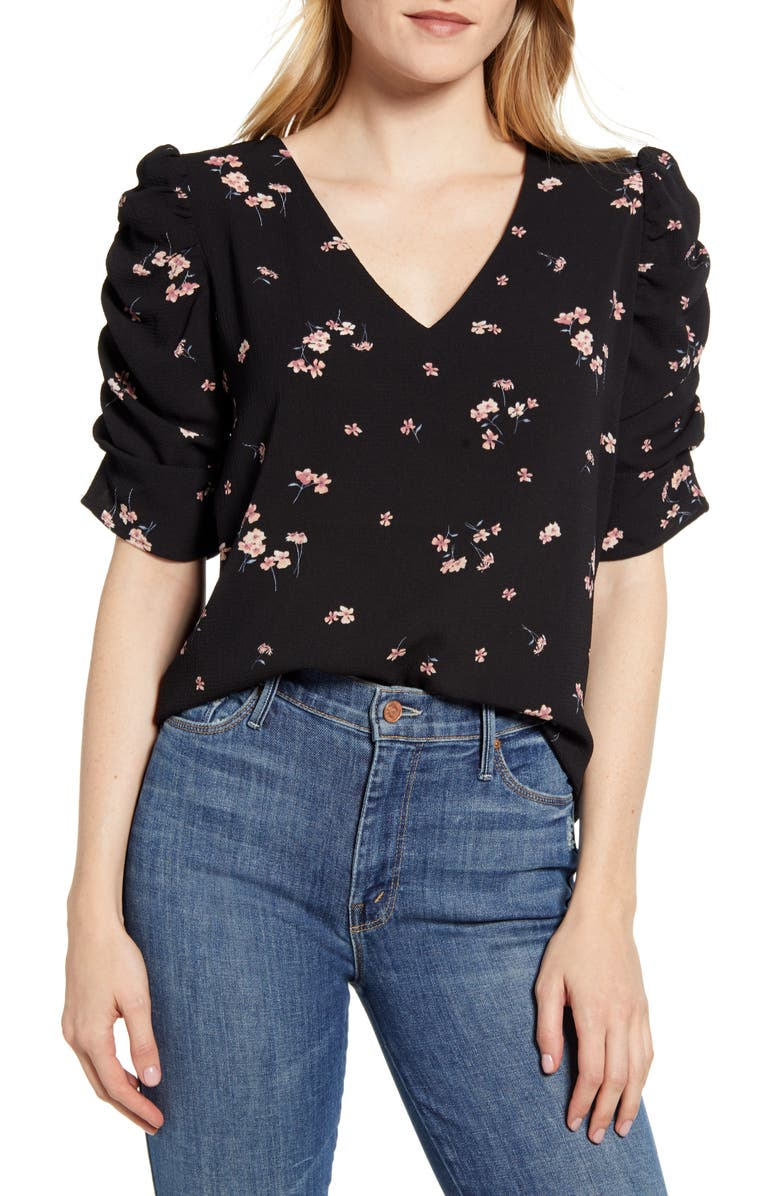BOBEAU Floral Ruched Sleeve Blouse, Main, color, DITSY FLORAL BLACK